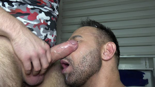 guy gets facial with a lot of cum