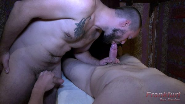 hairy man with beard suck a big cock and gets jacked off