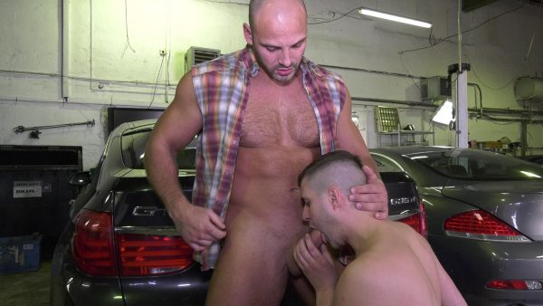 car service muscle man with big cock fucks young man