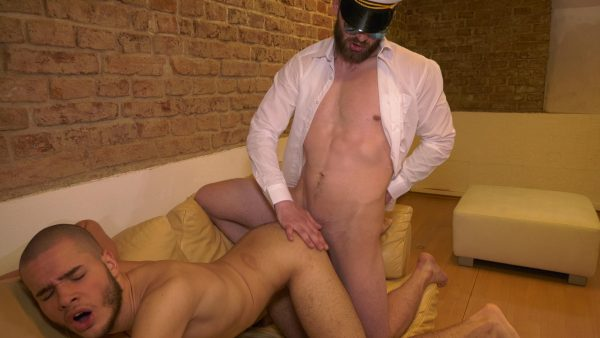 twink gets fucked by man in uniform and sunglasses
