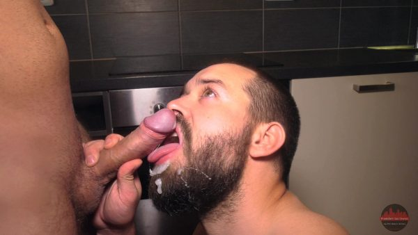 blown sexy dick by guy with beard in the kitchen
