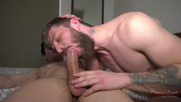 sexy young guy with beard and tattoos sucks huge cock