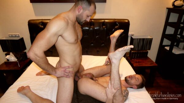 sexy muscled guy fucks young guy in the bedroom