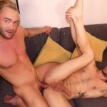 blond muscle hunk with big cock fucks hairy stud