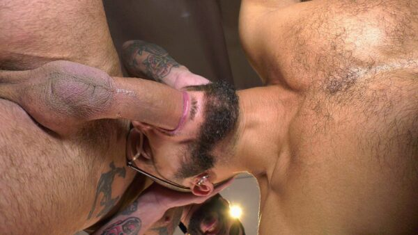 hairy guy with beard gets facefucked by big dick