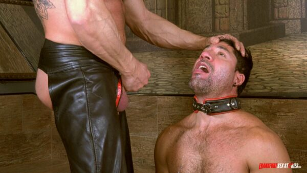 guy with leather collar is ready to get facial cumshot