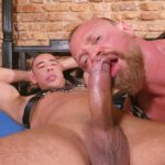 mature man with beard opens mouth to suck big cock