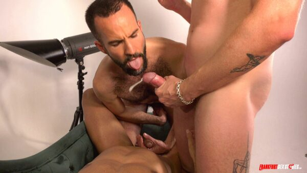 hairy stud opens his mouth for a cumshot