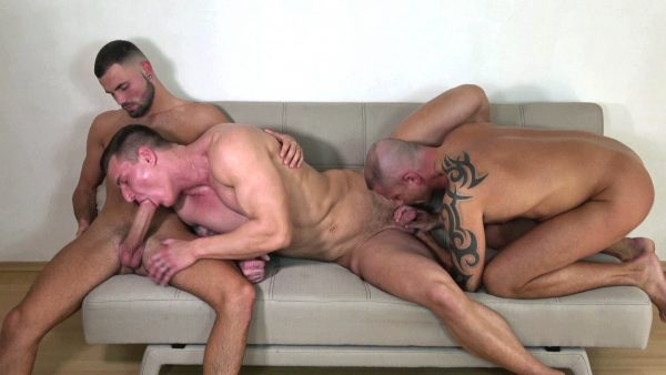 a muscle man gets sucked while he sucks a big cock on a couch