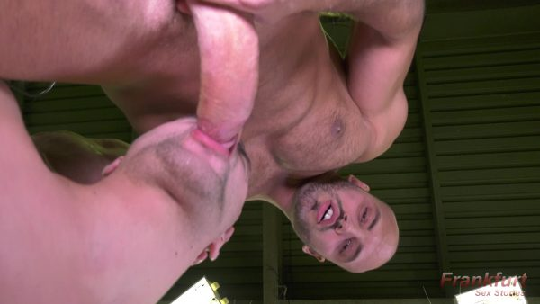young boy on his knees sucking muscle man with big cock
