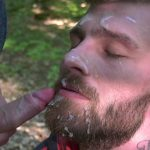 nikol monak is receiving a huge cumshot on his face outdoors