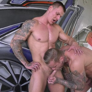 nut busters two muscle studs have oral sex outdoors