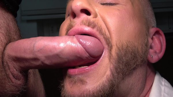 man with beard opens his mouth to suck big cock