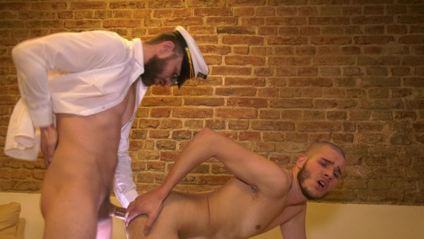 twink gets fucked doggy style by sexy man in uniform