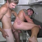 muscle tattoo stud gets fucked by big cock in the kitchen