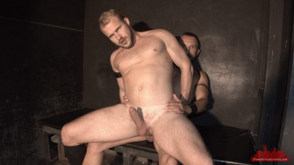 sexy blond muscle stud rides cock in a gay sex club